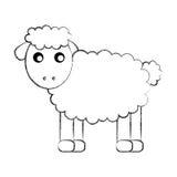 逗人喜爱的绵羊图画字符 向量例证