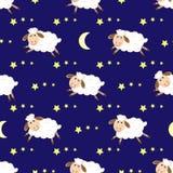 逗人喜爱的绵羊无缝的夜样式 库存照片