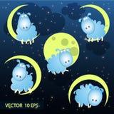 逗人喜爱的绵羊的传染媒介例证在月亮的 免版税库存照片
