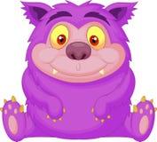 逗人喜爱的紫色妖怪动画片 图库摄影