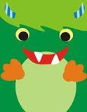 逗人喜爱的绿色妖怪面孔 免版税库存照片