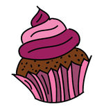 逗人喜爱的紫色杯形蛋糕 免版税库存图片