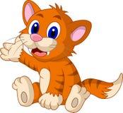 逗人喜爱的黄色猫动画片 免版税库存图片