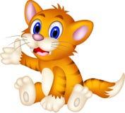 逗人喜爱的黄色猫动画片 库存照片