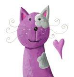 逗人喜爱的紫色猫 免版税库存图片