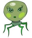 逗人喜爱的绿色蜘蛛喜欢女性外籍人头 库存图片
