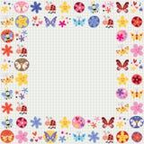 逗人喜爱的蝴蝶甲虫蜂开花装饰设计元素 免版税库存照片