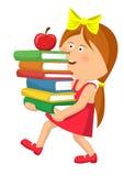 逗人喜爱的主要女小学生运载的堆预定用红色苹果 库存照片