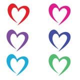 逗人喜爱的colorfull心脏象2月传染媒介集合 库存照片