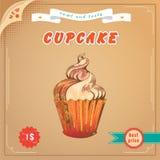 逗人喜爱的cupcaket 传染媒介Engravin 向量例证
