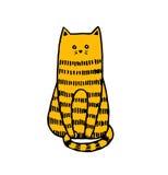 逗人喜爱的handrawn红色猫例证 库存例证