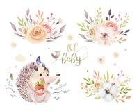 逗人喜爱的nursary的与花束,字母表森林地水彩漂泊小猬动物海报隔绝了森林 免版税库存照片