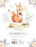 逗人喜爱的nursary的水彩漂泊小灰鼠动物海报,字母表森林地隔绝了森林例证为 库存图片