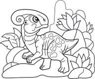 逗人喜爱的parasaurolophus,滑稽的例证彩图 免版税图库摄影