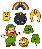 逗人喜爱的St. Patricks日图标 库存照片