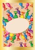 逗人喜爱糖果的看板卡 免版税库存图片