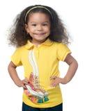 逗人喜爱美国黑人小女孩微笑 免版税库存照片