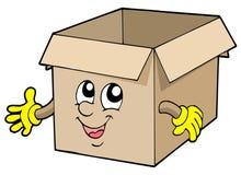 逗人喜爱配件箱的纸板开张 库存照片
