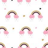 逗人喜爱,云彩,彩虹-无缝的样式 印刷品T恤杉的想法 向量例证