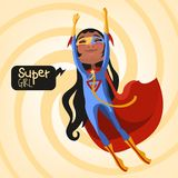 逗人喜爱,动画片、可爱的飞行非裔美国人& x28; black& x29;超级英雄女孩 免版税库存图片