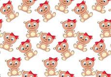 逗人喜爱,美丽,棕色,亲切,幼稚,微笑的熊女孩和在一条弓和珍珠项链的蓝眼睛的样式有大头的在a 向量例证