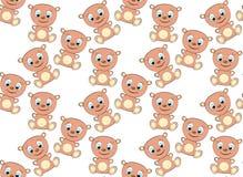 逗人喜爱,美丽,棕色,亲切,幼稚,快乐,微笑的熊女孩和在白色背景的蓝眼睛的样式有大头的 库存例证