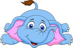 逗人喜爱大象动画片说谎 免版税图库摄影