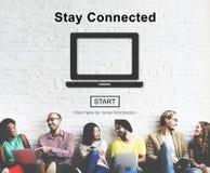 逗留分享社会概念的被连接的交互式网络 免版税库存图片