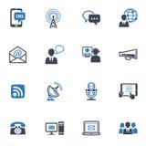 通信图标,设置了1 -蓝色系列 免版税库存照片