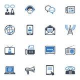 通信图标,设置了2 -蓝色系列 免版税库存图片