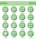 通信,绿色按钮 免版税库存图片