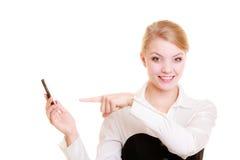 通信 拒绝电话的女实业家 免版税库存图片