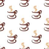 通入蒸汽的咖啡的无缝的背景样式 库存照片