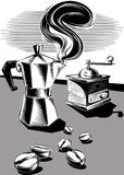 通入蒸汽的咖啡罐一些咖啡豆 免版税库存图片