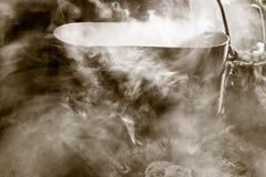 通入蒸汽的常礼帽 免版税库存照片