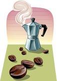 通入蒸汽的意大利咖啡壶 免版税图库摄影