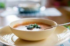 通入蒸汽的碗蕃茄蓬蒿汤 免版税图库摄影