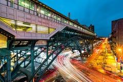 通勤者路轨插孔驻地,在哈林, NYC 免版税库存照片
