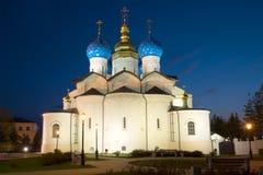 通告大教堂在喀山克里姆林宫可以夜 喀山 库存图片