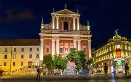 通告的方济会教会在卢布尔雅那,斯洛文尼亚 免版税库存图片