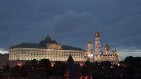 通告的盛大克里姆林宫宫殿和大教堂在莫斯科在晚上 影视素材