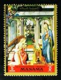 通告;由Filippo利皮1406-1469,从老Pinakothek,慕尼黑serie的绘画已婚的女性,大约1972年 免版税图库摄影