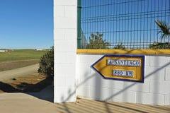 通往圣地亚哥, Camino de圣地亚哥,距离的道路向孔波斯特拉的圣地牙哥 免版税图库摄影