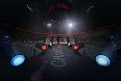通往Muttahida Majlis-E-Amal竞技场的道路在光下的拥挤体育场的 免版税库存照片