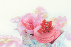 通心面,红浆果,以玫瑰为背景美丽的花的蛋白软糖  点心特写镜头 库存图片