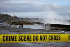 通知从Superstorm桑迪的失败防波堤 免版税库存图片