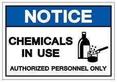 通知化学制品在使用中的标志标志,传染媒介例证,在白色背景标签的孤立 EPS10 向量例证