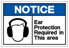 通知在这个区域标志标志需要的耳朵保护,传染媒介例证,在白色背景标签的孤立 EPS10 向量例证