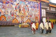 通萨的Dzong,通萨,不丹和尚 库存照片