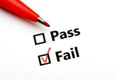 通行证或失败 免版税库存照片